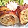 Krémsajtos csirkemell baconbe göngyölve