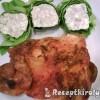 Sült csirkecomb filé rokfortos tekercsekkel