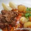 Vörösboros resztelt máj petrezselymes krumplival körte befőttel