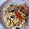 Rakott gombás tortellini darált hússal és sajttal