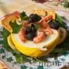 Vodkás mézdinnye saláta füstölt lazaccal folyami rákkal