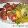 Baconbe és füstölt sajtba tekert virsli
