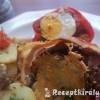 Kacsamájpástétommal és tojással töltött paprika