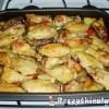Zöldségeken sült csirkeszárnyak