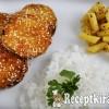Rántott cukkini zöldbabsalátával és rizzsel