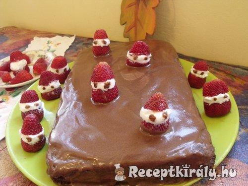 Sport szeletes sütemény, eper lányokkal