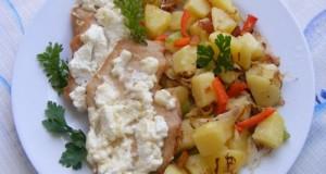 Túrós sajtos csirkemell káposztás burgonyával