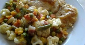 Mozzarellás csirkemellek zöldségágyon