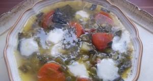 Medvehagymás zöldségleves mozzarellával