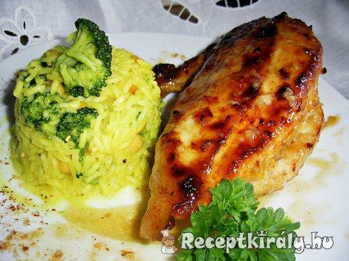 Édes savanyú sült csirke és kurkumás piláf