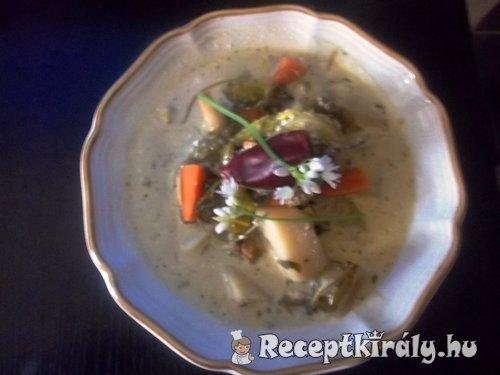 Erdélyi tárkonyos medvehagymás zöldségleves