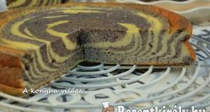 Túrós mákos zebra torta
