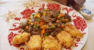 Pulyka comb zöldségekkel, sajt körettel