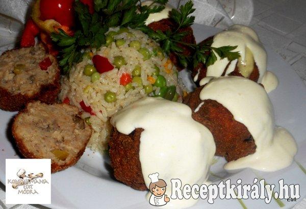 Zöldséges fasírt tartár mártással, rizzsel