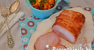 Bacon köntösben sült karaj indiai serpenyős karfiollal