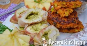 Szalonnába tekert pestós csirke édesburgonya tallérokkal