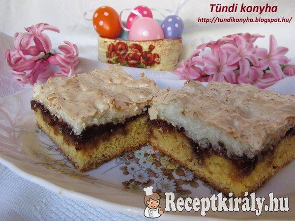 Kókuszhabos-eperlekváros sütemény